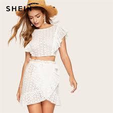 SheIn Womens Boho 2 <b>Pieces</b> V Neck <b>Lace</b> Crop Top and Striped ...