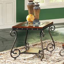 steve silver ellery square wood and glass top end table with a clear tempered glasstop freatured wooden frame swirled metal legs 198