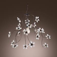 sparkling clear crystal fl and swirled branches frame black wrought iron chandelier