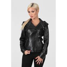 women s black removable hood and collar moto real leather jacket