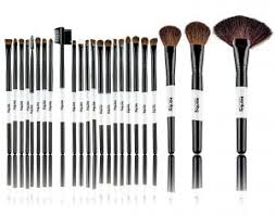 pro 24 piece cosmetic makeup brush brushes set kit professional natural bristles with wooden handle with pouch case bag for foundation eyeshadow and more