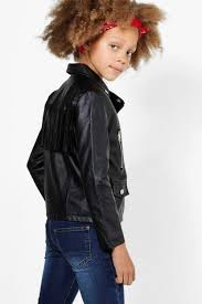 girls fringed faux leather biker jacket black