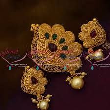ps9933 green stone gold design matte reddish colour pendant set