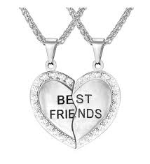 f necklace for girls set of 2 rhinestone heart shaped friendship pendant necklace best bithces engraved ca12hgz903l