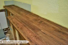 diy solid wood countertop made from cedar 2 by 4 s