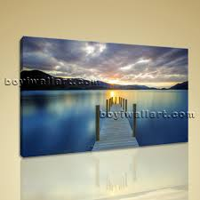 large lake bridge landscape wall art hd giclee print on canvas bedroom one piece catalina blue