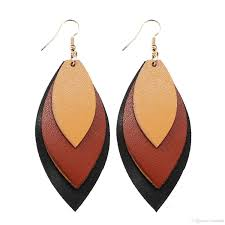2019 hot s multilayer pu leather earrings boho handmade personlized leather leaves earrings for women designer jewelry gift drop from brands88