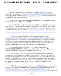 Free Alabama Standard Residential Lease Agreement Template Pdf
