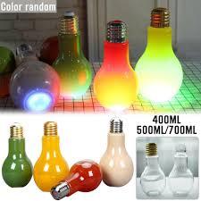 Light Bulb Drink Bottle Glass Light Bulb Shape Cup Creative Cute Colorful Drink Mug Juice Bottle Tea Cup
