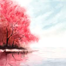 painted red tree