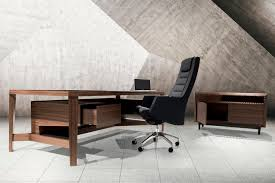 executive desk wooden leather contemporary natura