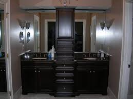 Bathroom High Cabinet Black Wooden Bathroom Double Vanity With High Cabinet And Double