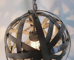 orbits urban chandelier recycled wine barrel metal hoops galvanized steel bands ceiling with wine barrel light fixture