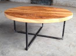 round reclaimed wood coffee table with metal base shellback iron for and plan 18