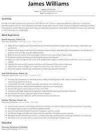 Best Writing Sample Resume Pharmachy Technician With Summary And