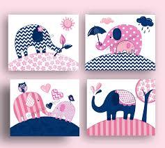 Navy And Pink Bedroom Navy Blue Pink Elephant Art Prints Baby Girl Nursery Bedroom Wall
