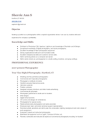 Photography Resumes Resume And Cover Letter Resume And Cover Letter