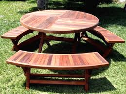 garden and patio outdoor round wooden picnic tables with ideas of round picnic table plans