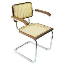 com marcel breuer cesca cane chrome arm chair in walnut chairs