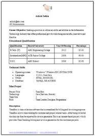 Basic Resume Format For Freshers Pdf Resume Template