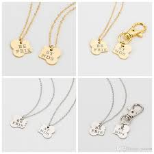whole set gold silver color dog bone best friends charm necklace and dog owner women men friendship pet chain keychain jewelry pendants and necklaces