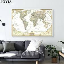 decoration world map painting canvas prints large wall art vintage earth maps picture poster living