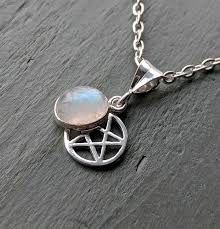 details about 925 sterling silver pentagram rainbow moonstone pendant pagan wiccan jewellery
