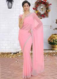 Cutdana Work Saree Designs Hypnotizing Georgette Cutdana Pink Designer Saree