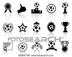 Clipart Of Black Soccer Award Icons Set K20647184 Search Clip Art