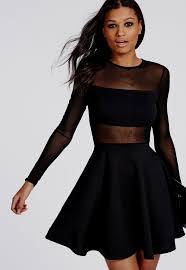 Long Sleeve Black Skater Dress Naf Dresses Mesh Insert Long Sleeve Skater Dress Black