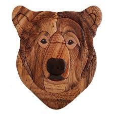imposing design bear wall art portrait wood cabin place