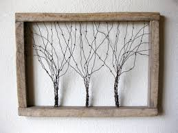 Wooden Window Frame Crafts Large Reclaimed Barn Wood And Barbed Wire Tree Wall Art Three