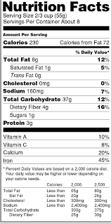 an exle of the old nutrition facts panel vitacost