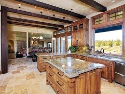 it is an enormous space with a large butcher block table counter in the middle the rest of the countertops are limestone from a quarry in central oregon
