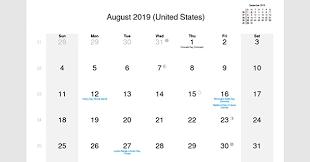 August 2019 Calendar With Us Holidays 2019 Calendar