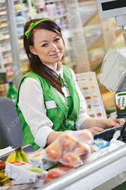 portrait of s assistant or cashdesk worker in supermarket portrait of s assistant or cashdesk worker in supermarket store stock photo 27914264