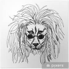 Plakát Tetování Lva Hipster