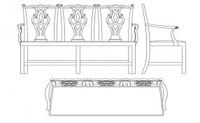 wooden bench table plan elevation and side view with furniture view dwg file