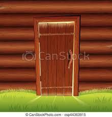 old door on wooden log wall log house facade csp44363915