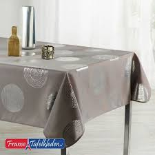 tablecloth taupe with silver circles 160 round french tablecloths