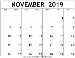 November 2019 Printable Calendar Free Printable Calendar Com