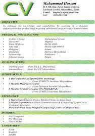 Curriculum Vitae Sample Format Impressive Sample Cv Format Latest Cv Format In Pakistan Curriculum Vitae