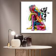 framelessoil paintings canvas colorful buddha sitting wall art decoration painting home decor on canvas modern wall on home wall art painting with house decor painting bm furnititure