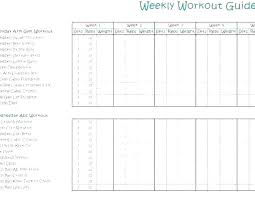 Workout Table Template 67 Prototypal Weekly Workout Routine Chart