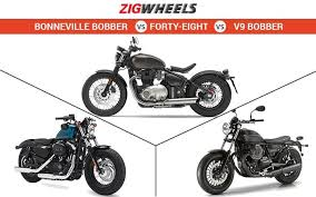 triumph bonneville bobber vs harley davidson forty eight vs moto
