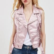 2019 fashion leather vest womens sleeveless leather jacket turn down collar pockets pu vest waistcoat leather coat 5 color pink