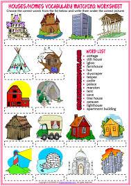 Types Of Houses Esl Matching Exercise Worksheet For Kids