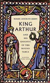 it has a colourful cover thick black lines like primitive stained glass windows and bright colours so that you know that the knight on the left wears a red