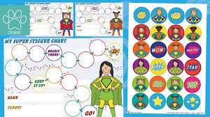 Teachers Pet Superhero Sticker Charts And Stickers Girls