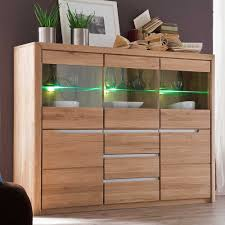 Highboard Vlarenzo Aus Wildeiche Massivholz 180 Cm Mit Led